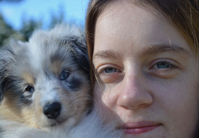 beautiful girl with puppy